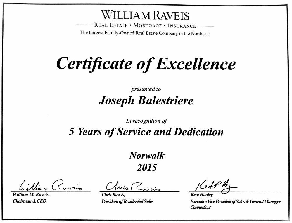 Joe Balestriere - 5 Years as Realtor